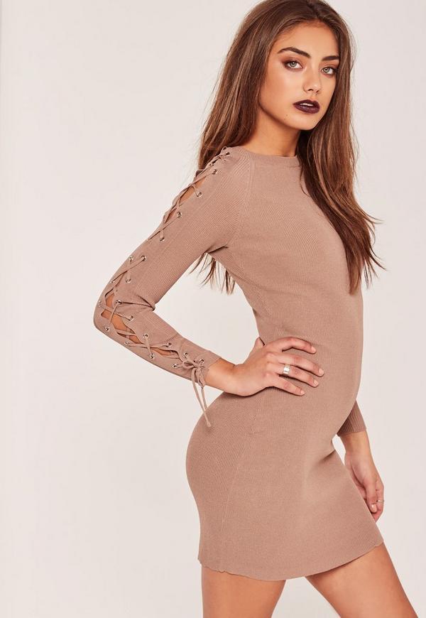Nude Lace Up Sleeve Mini Jumper Dress