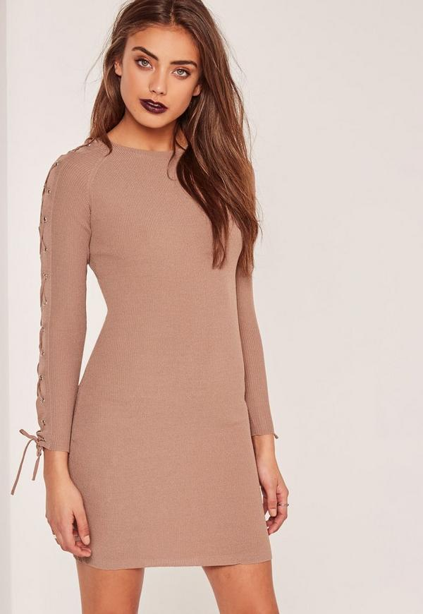 Lace up dresses with sleeves