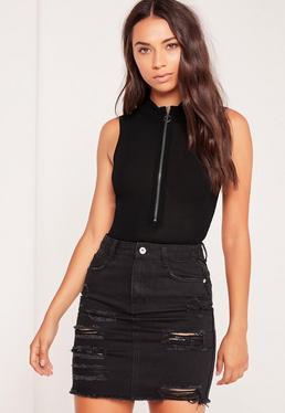 Zip Front Sleeveless High Neck Bodysuit Black