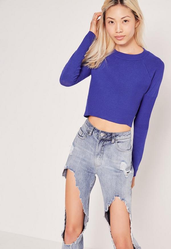 Contrast Knit Long Sleeve Jumper Colbalt Blue