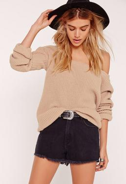 Camel Off Shoulder Knitted Sweater