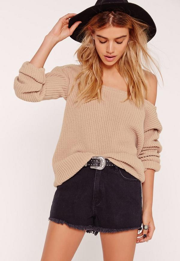 Off Shoulder Knitted Jumper Camel