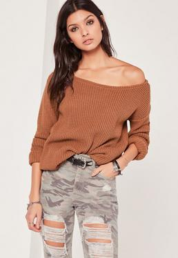 Tan Off Shoulder Knitted Sweater