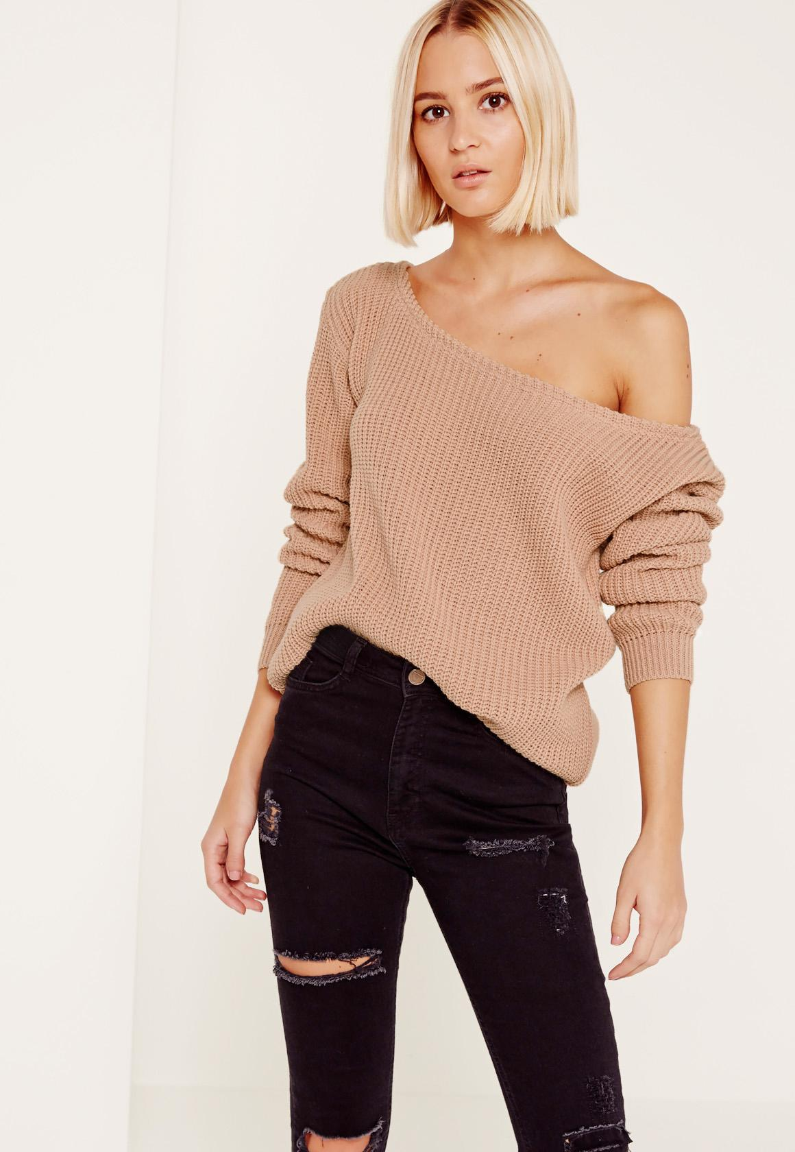 Knitting Pattern For Off Shoulder Sweater : Pink Ophelita Off Shoulder Knitted Sweater Missguided
