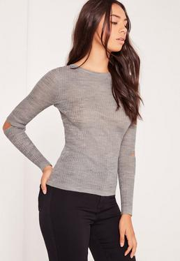 Grey Elbow Slash Crew Neck Sweater