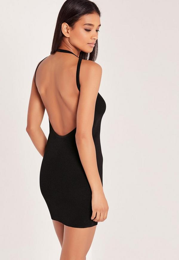 Black Dip Back Bodycon Knitted Dress