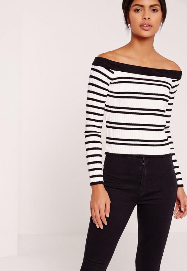 Bardot Stripe Jumper White