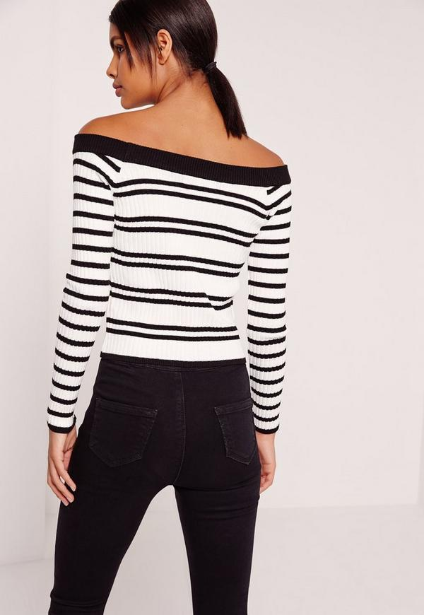 Black White Striped Off Shoulder Sweater | Missguided