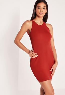 Dipped Back Knitted Bodycon Dress Red