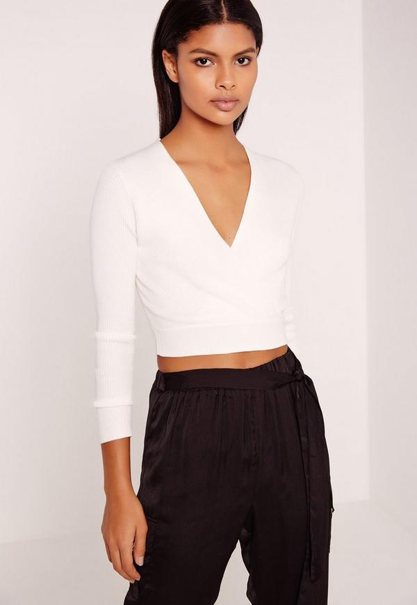Basic Long Sleeve  Wrap Over Ribbed Crop Top White