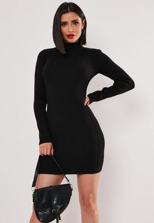 a430ac9fa00f Black Roll Neck Ribbed Knitted Mini Dress | Missguided