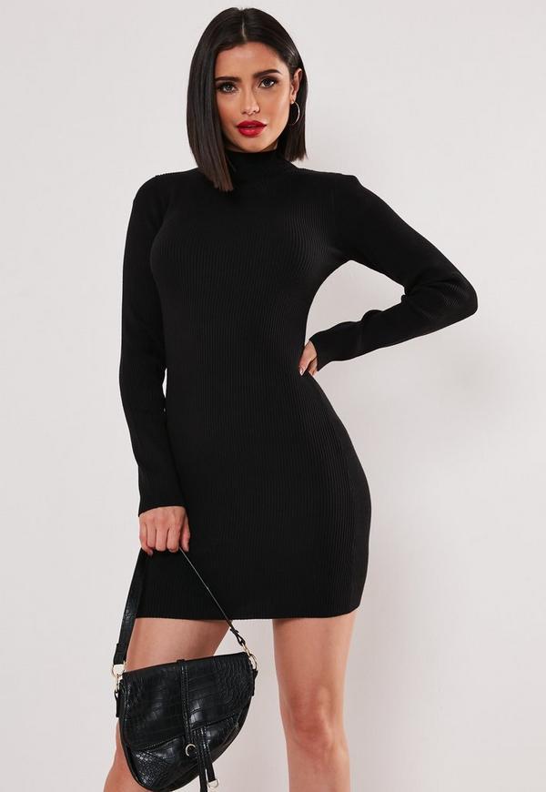 Basic High Neck long sleeve Mini Dress Black