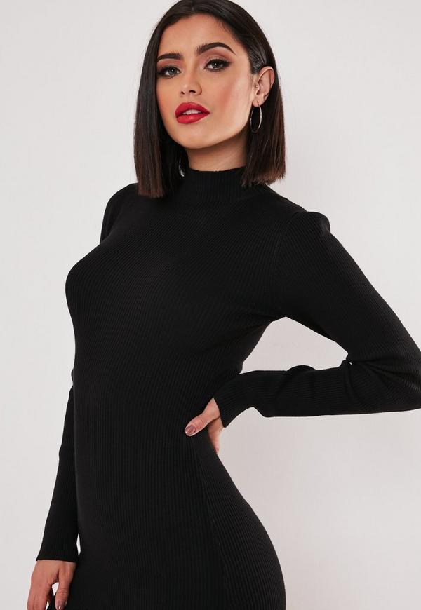 Black Basic High Neck Long Sleeve Sweater Dress | Missguided