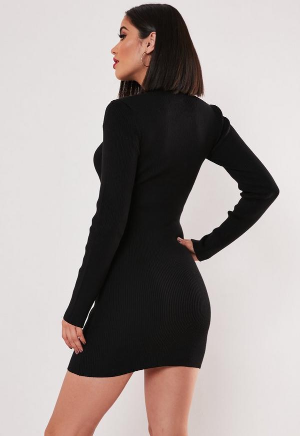 Robe noir courte col roule