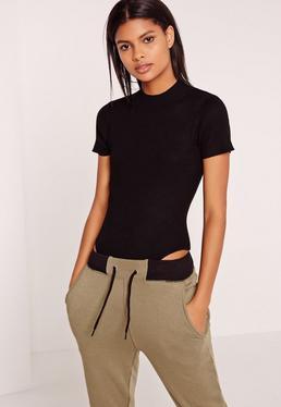 Basic Short Sleeve High Neck Bodysuit Black