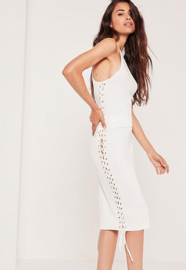 Lace Up Midi Skirt White