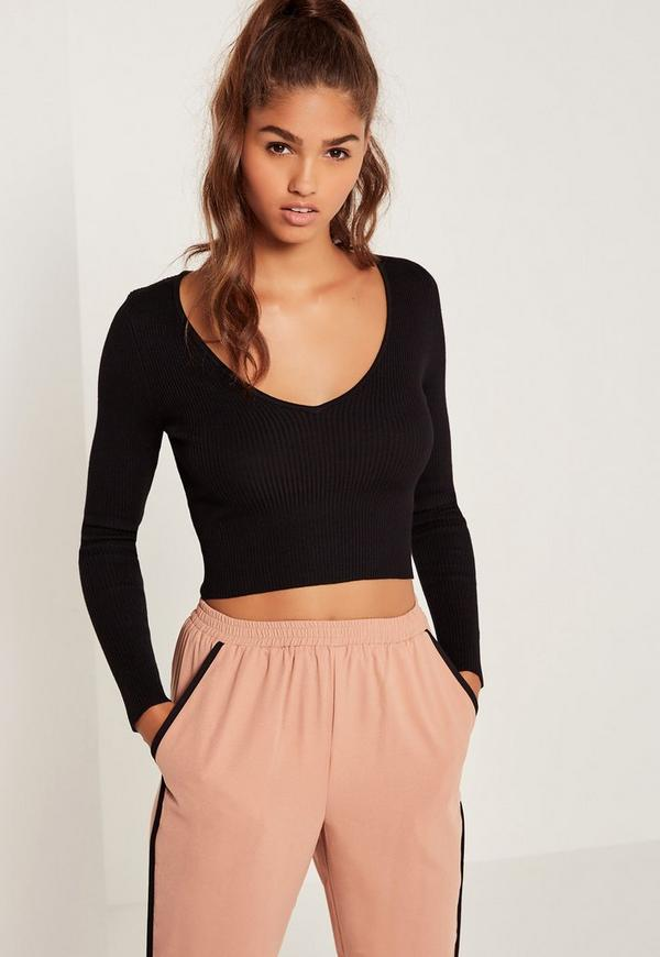Basic V Neck Longsleeve Crop Jumper Black