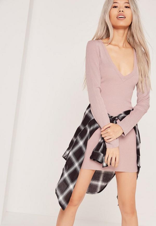 V-Neck Ribbed Jumper Dress Lilac
