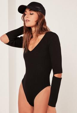 Black Slash Elbow Bodysuit