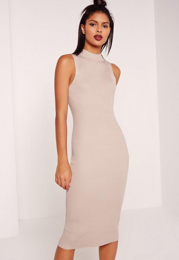 Basic Sleeveless Round Neck Midi Dress Nude