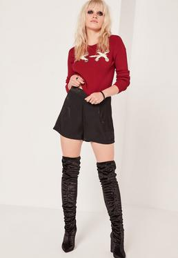 Red Ribbed Eyelet Lace Up Cropped Sweater