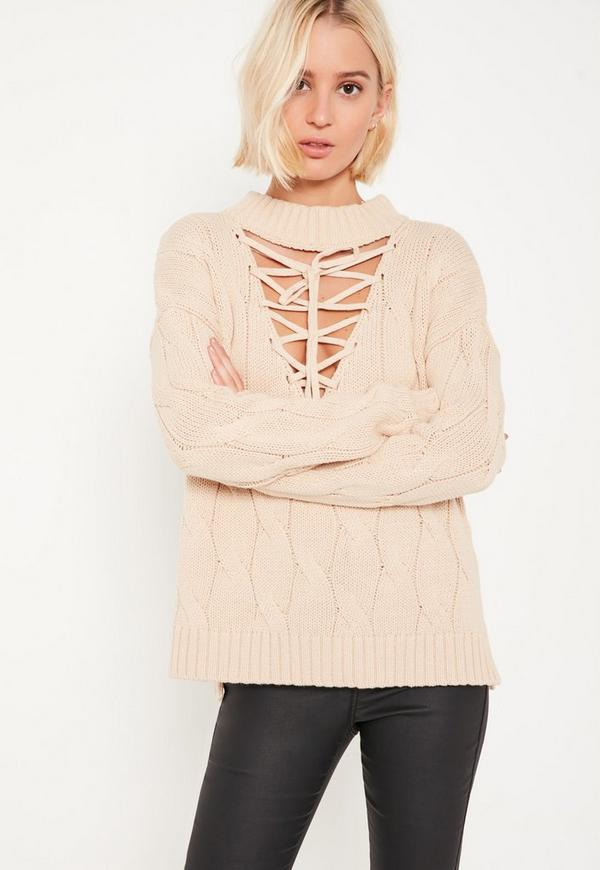 Nude Lace Up Turtleneck Cable Jumper