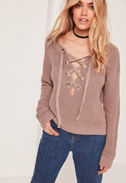 Brown Chunky Eyelet Lace Up Sweater