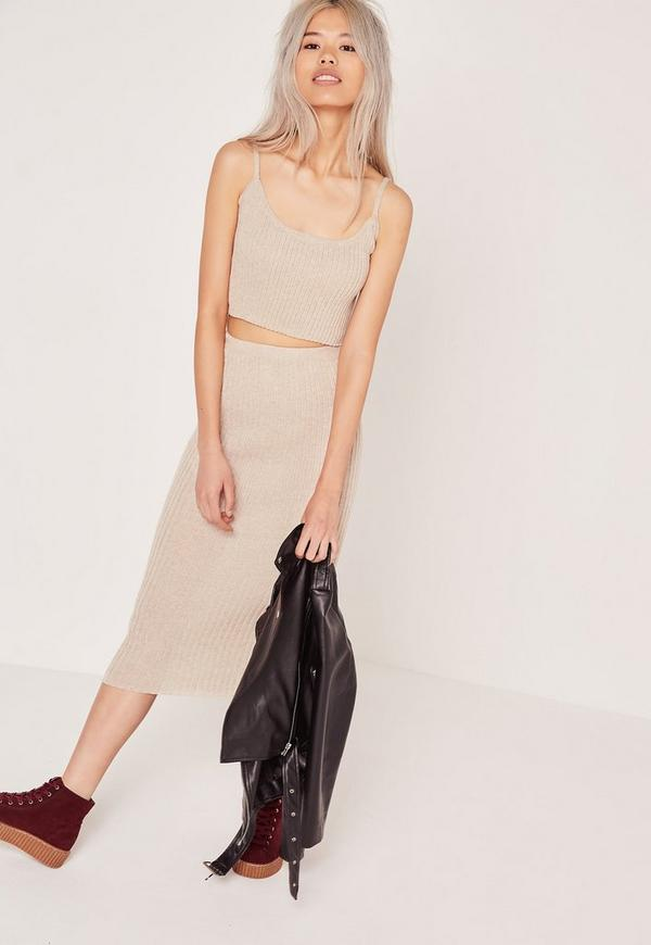 Rib Co - Ord Midi Skirt Nude