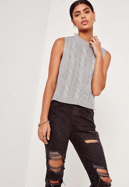 High Neck Cable Sleeveless Jumper Grey