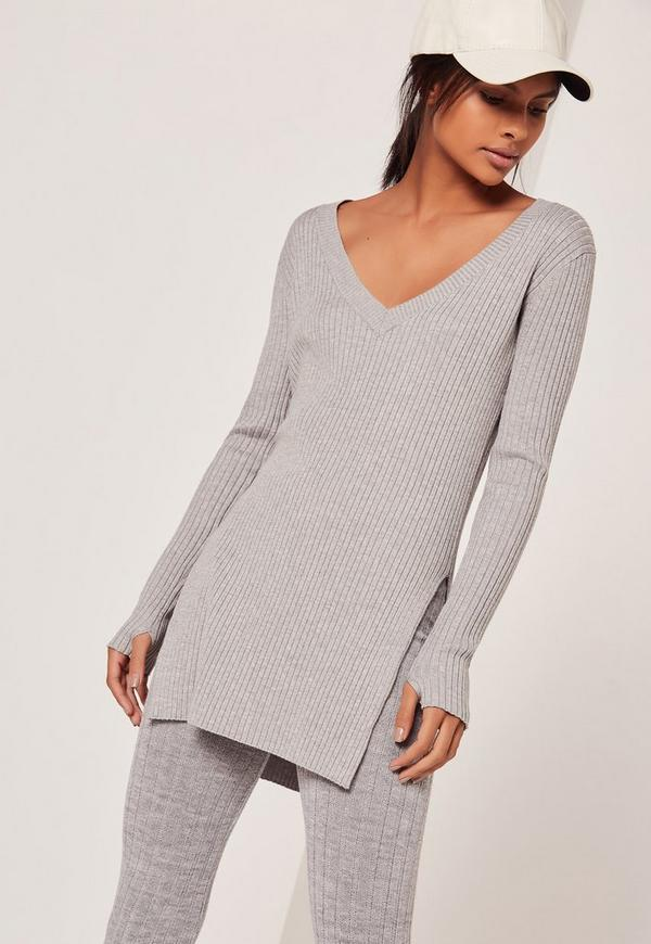 V Neck Side Split Jumper Grey