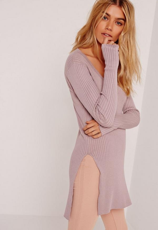 V Neck Side Split Jumper Purple
