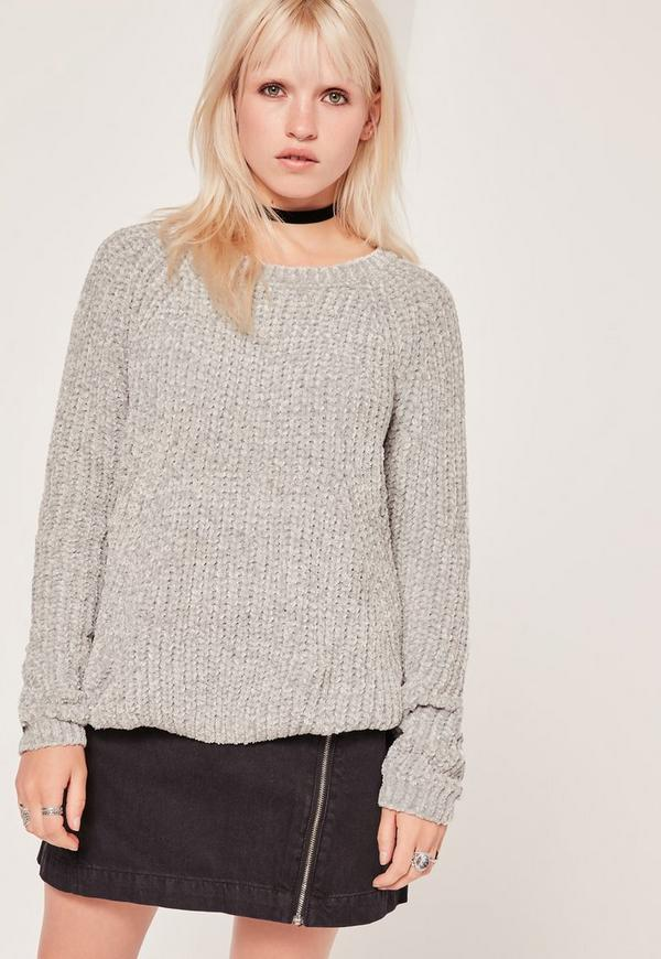 Cosy Chunky Knitted Jumper Grey