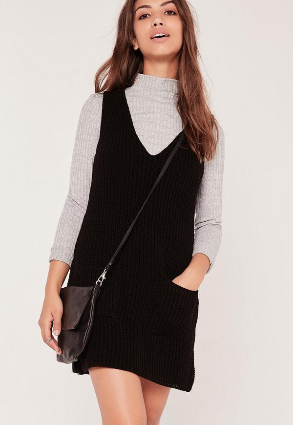 Knitted Sleeveless V Neck Dress Black