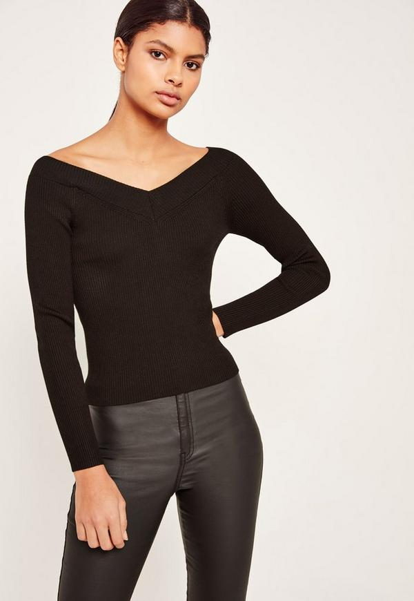 Off Shoulder Skinny Ribbed Cropped Jumper Black