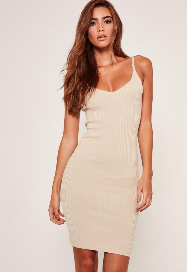 Camel Strappy Ribbed Mini Knitted Dress