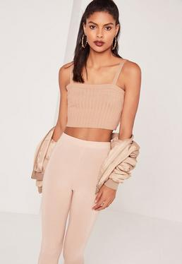 Square Neck Crop Top Nude