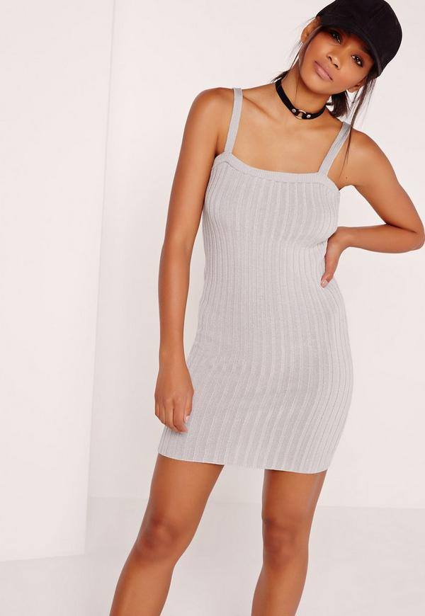 Grey Square Neck Knitted Mini Dress