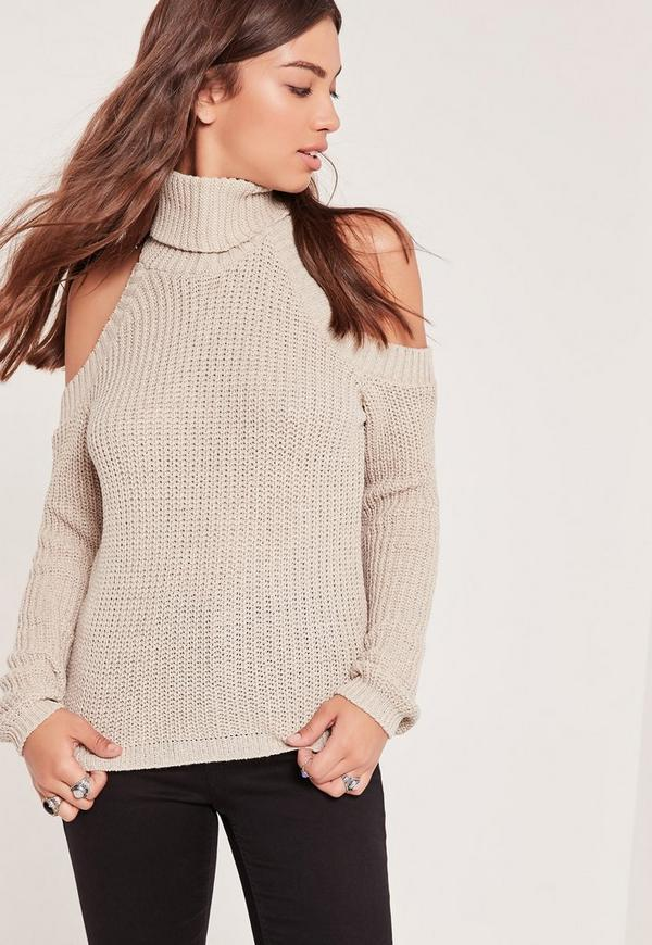 Roll Neck Cold Shoulder Jumper Nude