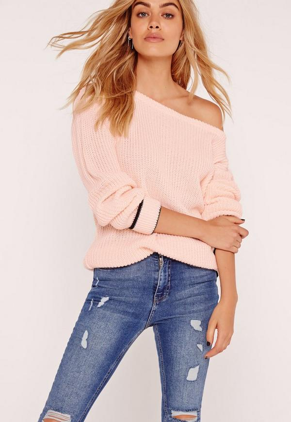 Tipped Trim Off Shoulder Jumper Pink