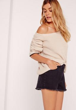 Tipped Trim Off Shoulder Jumper Nude
