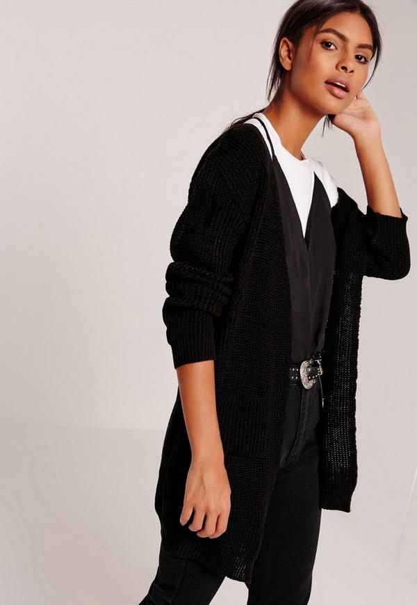 Slouchy Basic Pocket Cardigan Black