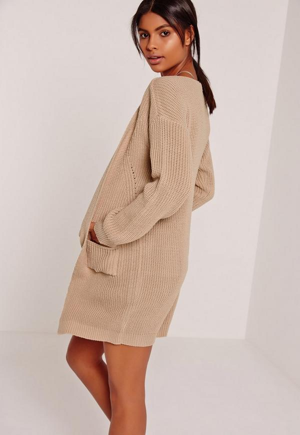 Slouchy Basic Pocket Cardigan Nude