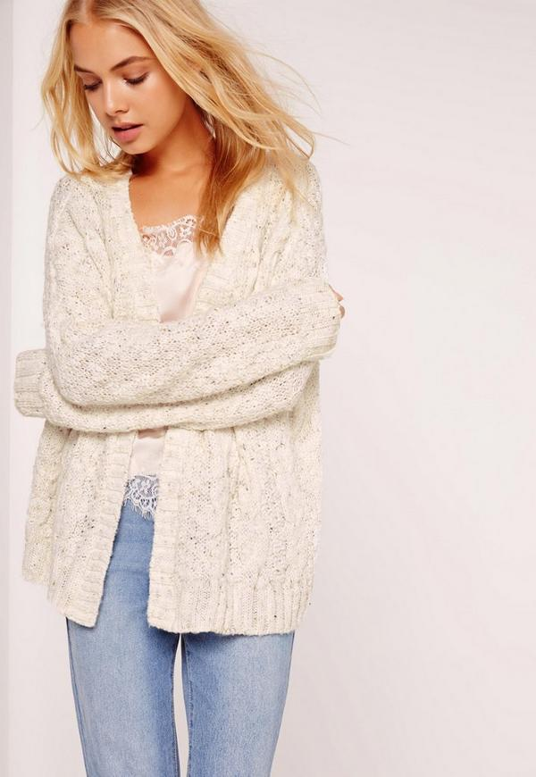 Cable Cardigan White