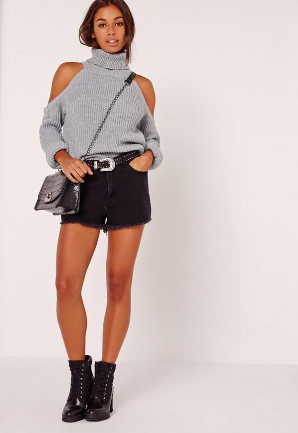Chunky Cold Shoulder Jumper Grey