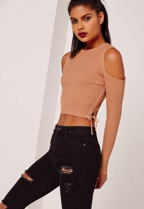 Lace Up Cold Shoulder Crop Nude