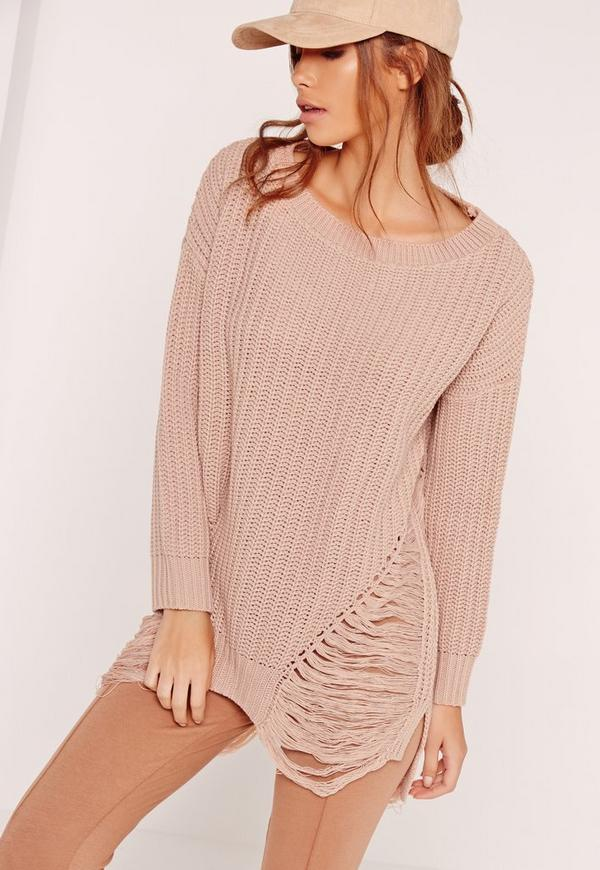 Distressed Off Shoulder Jumper Pink
