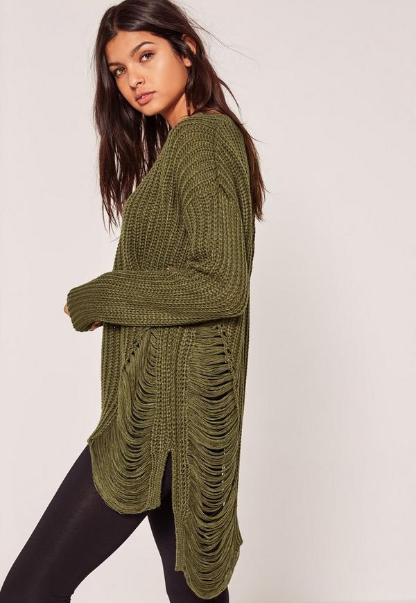 Khaki Distressed Jumper