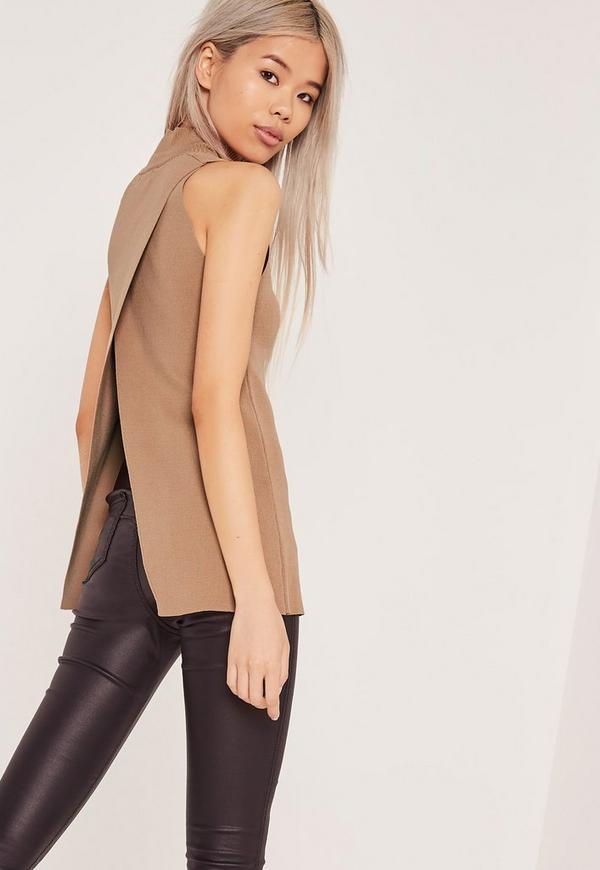 Wrap Back Tunic Camel