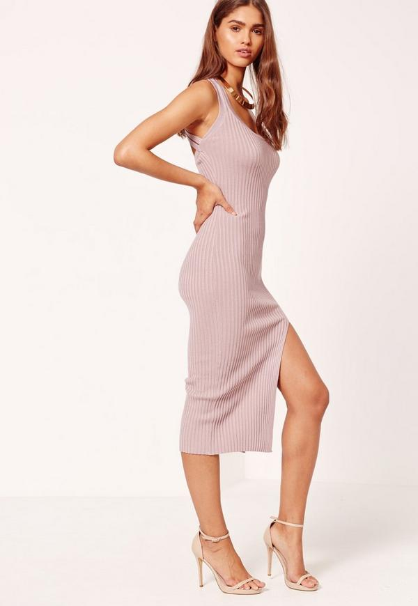 Pink Cross Strap Ribbed Midi Knitted Dress