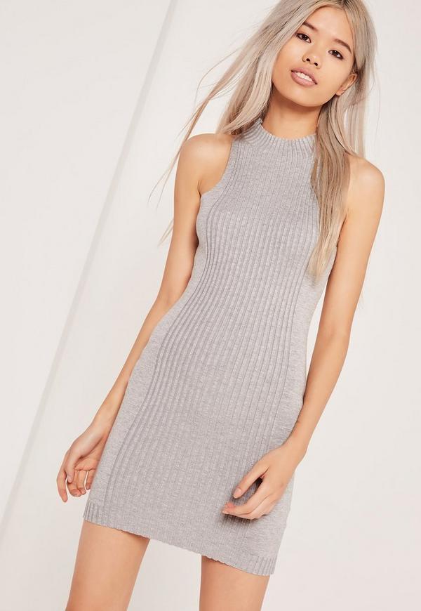 Rib Detail Sleeveless Mini Dress Grey